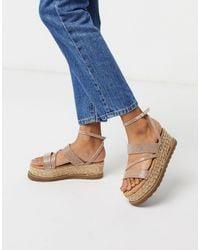 ASOS Tamira Diamante Flatform Sandals - Metallic