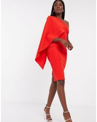 Lavish Alice Exclusive Cape One Shoulder Midi Dress - Red
