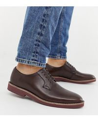 ASOS Коричневые Кожаные Туфли На Шнуровке Для Широкой Стопы - Многоцветный