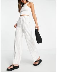 Bershka Wide Leg Linen Tailored Trouser Co-ord - White
