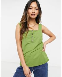 Warehouse Pique Square Neck Singlet - Green