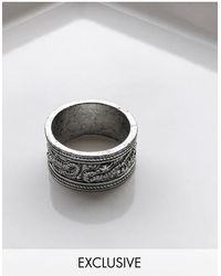 Reclaimed (vintage) Inspired Textured Band Ring With Snakes - Metallic