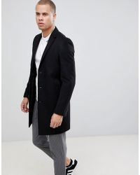 New Look - Overcoat In Black - Lyst