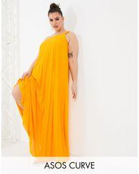 ASOS - Золотистое Плиссированное Платье Макси На Одно Плечо С Бретелькой В Виде Резинки - Lyst