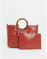 Truffle Collection Tort Handle Bag - Red