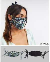 ASOS 2 Pack Floral And Plain Frill Face Covering - Multicolour