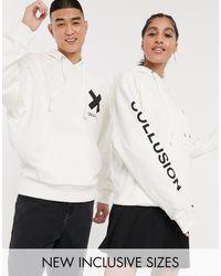Collusion Худи Кремового Цвета С Логотипом Unisex-белый