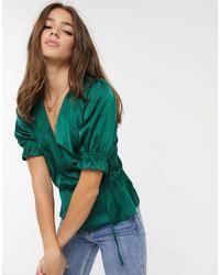 New Look - Темно-зеленая Атласная Блузка С Запахом -зеленый - Lyst