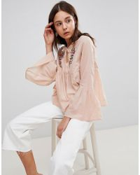 Glamorous - Smock Top With Tie Front And Floral Embroidery - Lyst