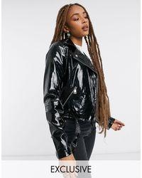 Urban Bliss Patent Biker Jacket - Black