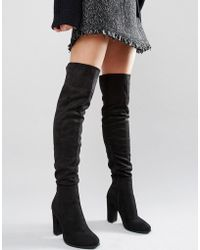 Daisy Street - Black Heeled Over The Knee Boots - Lyst