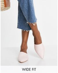 Truffle Collection Wide Fit Pointed Mules - Blue