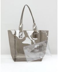 Chateau - Clear Gray Jelly Tote With Wristlet Clutch - Lyst