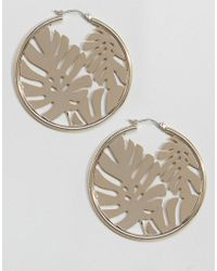 Skinnydip London - Gold Hoop Earrings With Palm Leaf - Lyst