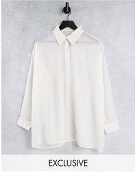 Native Youth Oversized Sheer Shirt - White