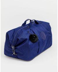 Kipling Blue Large Holdall Bag With Black Fluffy Charm