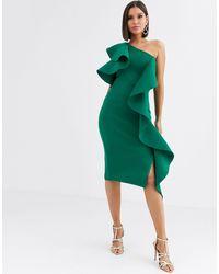 Lavish Alice Изумрудное Платье Миди С Открытыми Плечами -зеленый