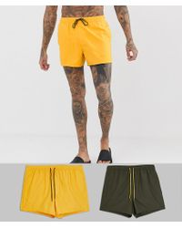 ASOS - Swim Shorts In Short Length In Khaki & Mustard 2 Pack Multipack Saving - Lyst