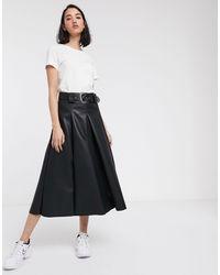 ASOS Leather Look Full Midi Skirt With Western Belt - Black