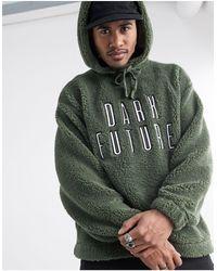 ASOS Asos X Dark Future Oversized Teddy Borg Hoodie With Applique Logo Print - Green