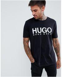 HUGO Черная Футболка С Крупным Логотипом Dolive-черный