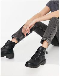 New Look Черные Ботинки На Шнуровке -черный Цвет