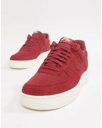 Nike - Air Force 1 '07 Suede Trainers In Red Ao3835-600 - Lyst