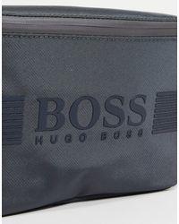 BOSS by HUGO BOSS Riñonera gris con logo grande Pixel