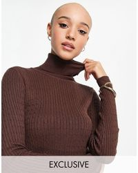 Stradivarius High Neck Sweater With Cable Knit Detail - Brown