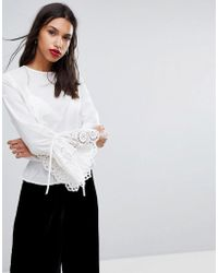 Y.A.S Woven Top With Crochet Fluted Sleeves - White