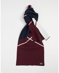 Lacoste Cotton Blend Jacquard Scarf - Red