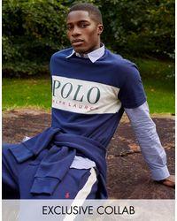 Polo Ralph Lauren X Asos - Exclusieve Samenwerking - Joggingbroek Met Witte Zijstreep En Ponylogo - Blauw