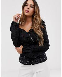 Lipsy Broidery Long Sleeve Sweetheart Top Black
