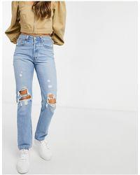 Levi's 501 - Jeans corti con strappi sulle ginocchia lavaggio blu medio