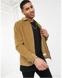 SELECTED - Вельветовая Куртка-рубашка Навыпуск Светло-коричневого Цвета На Молнии -коричневый Цвет - Lyst