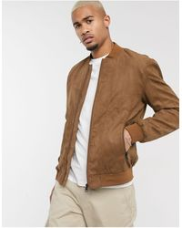 Only & Sons Faux Suede Bomber - Brown
