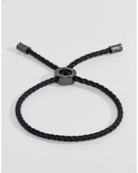 Ted Baker - Waxed Cotton Slider Bracelet In Black - Lyst