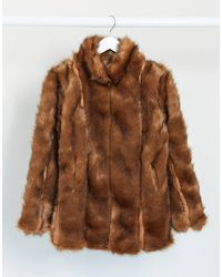 Missguided Panelled Faux Fur Coat - Brown