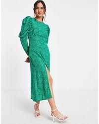 Girl In Mind Vestido con estampado floral, mangas abullonadas y abertura hasta el muslo - Verde