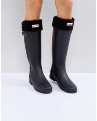 HUNTER - Original Black Tall Boot Socks - Lyst