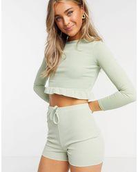In The Style Облегающие Шорты Шалфейно-зеленого Цвета X Demi Jones-зеленый