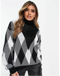 Naanaa Jersey blanco y con mangas abullonadas - Negro