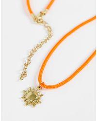 ASOS - Оранжевое Тонкое Ожерелье В Виде Шнурка С Золотистой Подвеской Солнца - Lyst