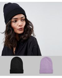 ASOS - 2 Pack Rib Beanie In Recycled Polyester - Lyst