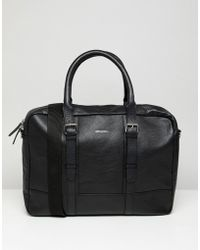 ASOS Leather Satchel In Black With Double Straps