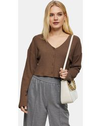 TOPSHOP Fluffy Ribbed Cardigan - Brown
