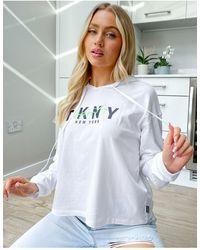 DKNY Sudadera con capucha corta blanca con logo gráfico - Blanco