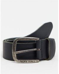 Jack & Jones Черный Гладкий Кожаный Ремень С Фирменной Пряжкой -черный Цвет