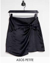ASOS Asos Design Petite High Shine Satin Mini Skirt With Twist Detail - Black