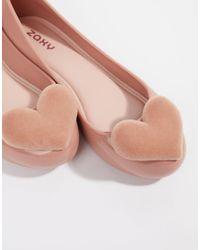 Zaxy Scarpe basse con cuore floccato - Rosa